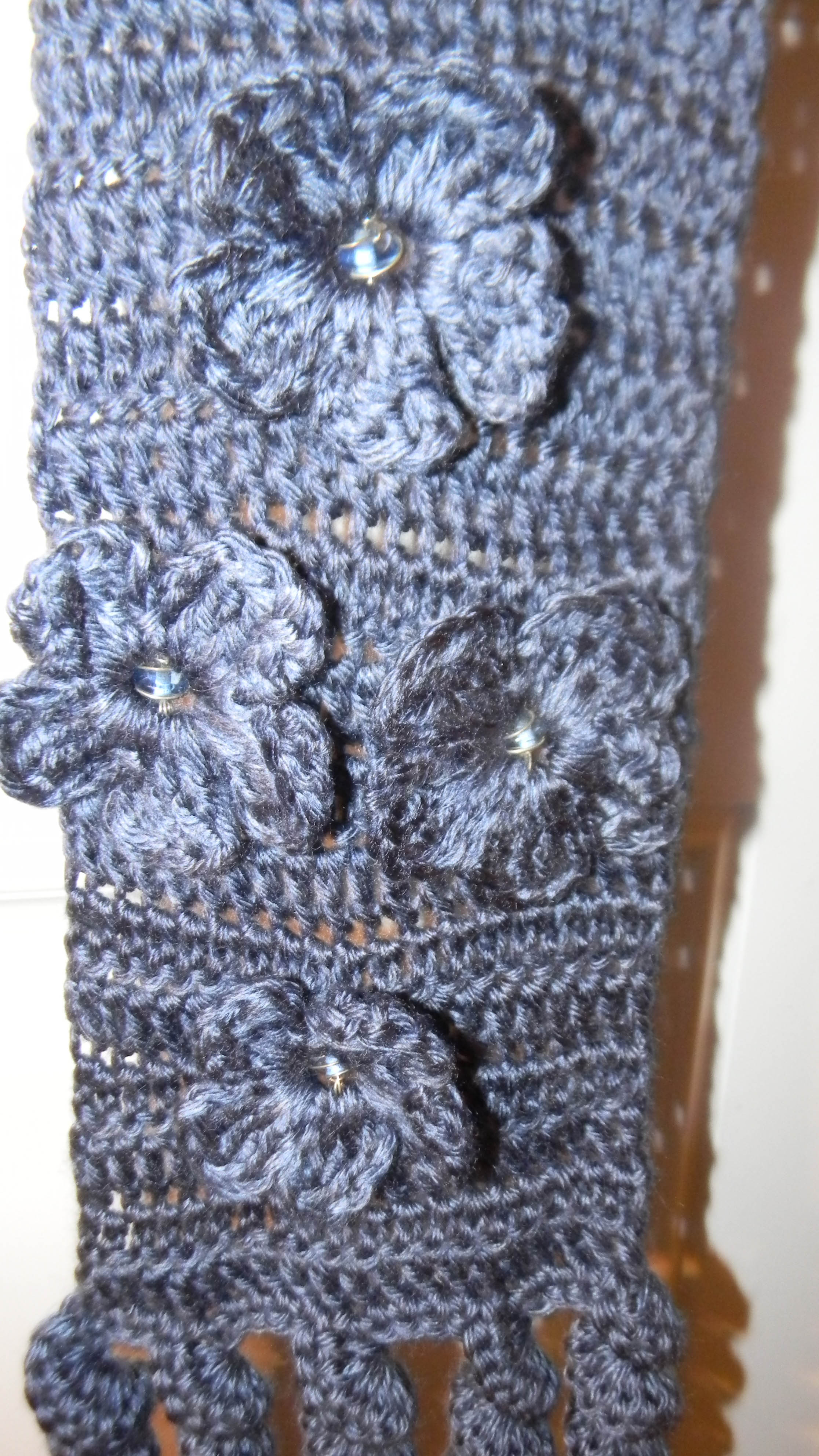 Crochet Scarf Pattern With Beads : Crocheted Flowers Beaded Scarf lifewithkeo