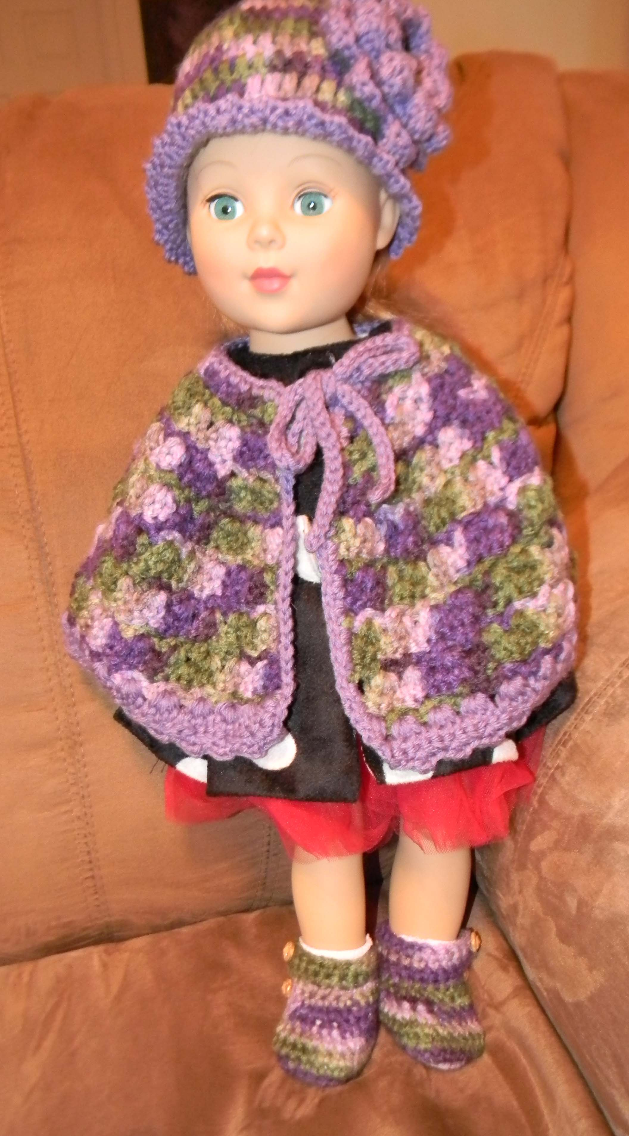 Crochet Doll Cape Pattern : Crocheted Cape, Hat and Boots for 18? doll lifewithkeo